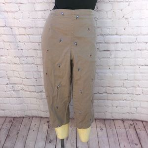 Tan flower ankle pants size 14